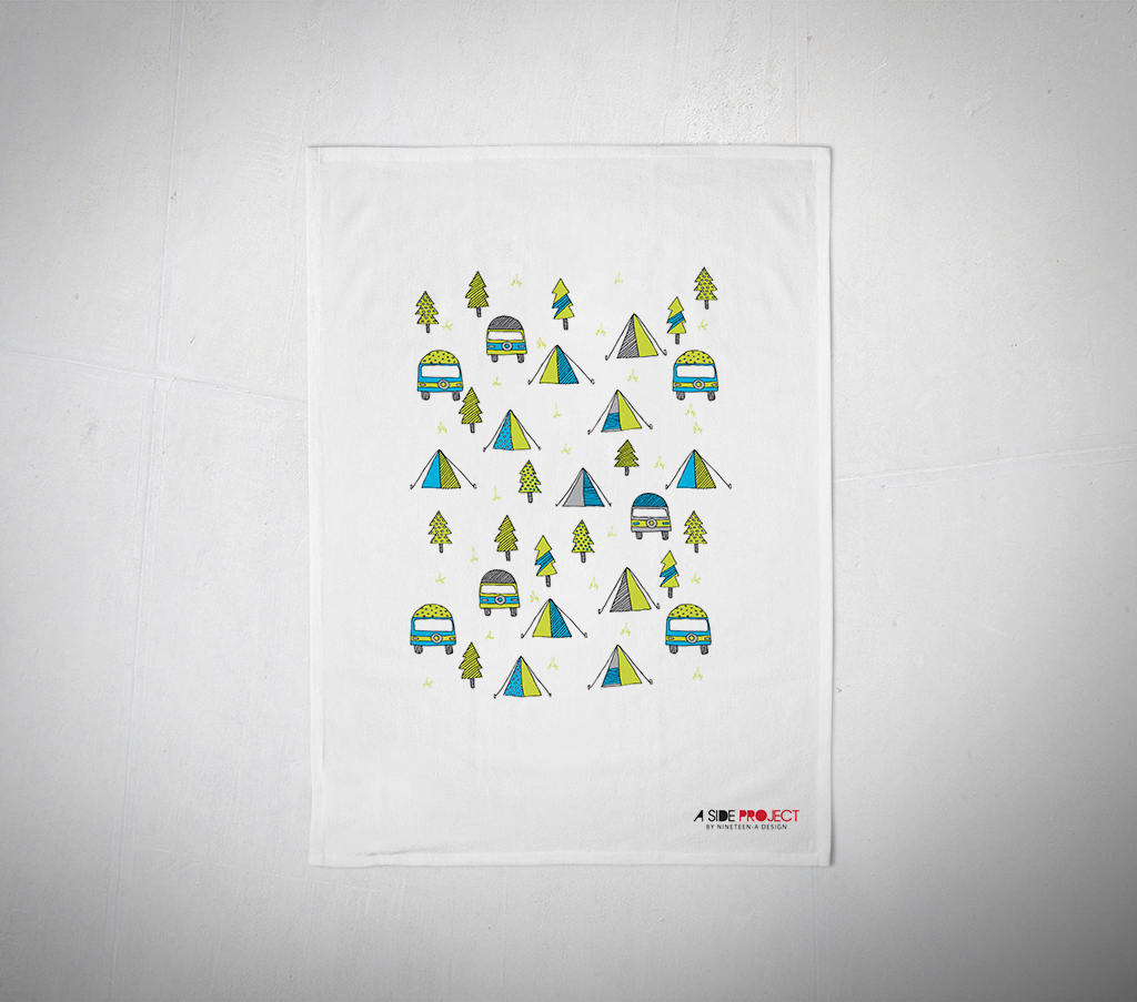 camping tea towel a side project